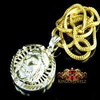 Men's Yellow Gold Finish Jesus Face Medallion Charm + Franco Chain Necklace