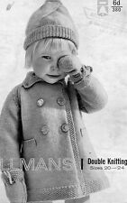 RETRO EASY KNITTING PATTERN DK BABY GIRLS CUTE COAT, HAT & MITTS 20-24""
