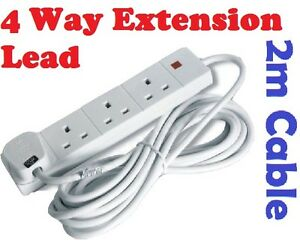 4-Way-Gang-Electric-Extension-Lead-2-M-METER-Cable-13A-UK-Plug-Multi-Way-Adapter