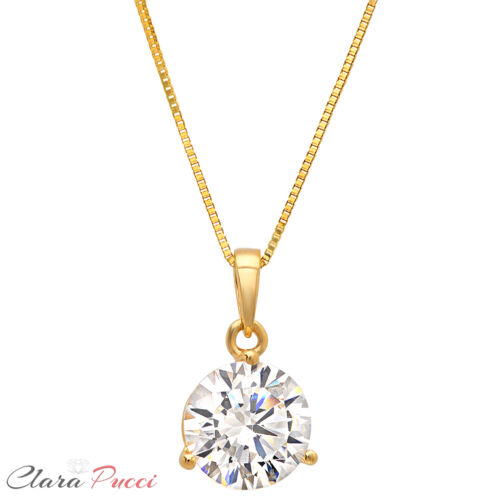 "2.0Ct Round Cut 14K Yellow Gold 3-prong Pendant Necklace Box With 18/"" Chain"