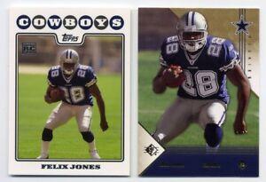 2 Different 2008 Felix Jones Rookie Card Rc Lot Topps Ud Sp