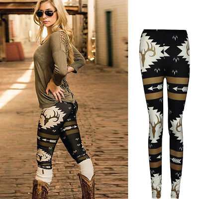 Fashion Women Winter Christmas Skinny Elk Deer Printed Stretchy Pants Leggings