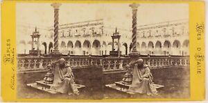 Napoli-Monaco-Chiostro-S-Martini-Italia-Foto-Stereo-Vintage-Albumina-c1865