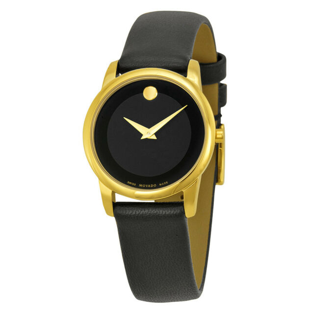 3ed44ad9f66b Movado Museum Ladies Black Dial Analog Display Swiss Quartz Watch 0606877