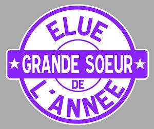 Détails Sur Elue Grande Soeur De Lannee Cadeau Fete Anniversaire 10cmx85cm Sticker Ea039