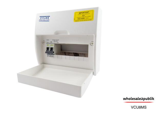 VOLEX PROTECTOR 8 WAY INSULATED FUSE BOX WTH 100A MAIN SWITCH VCU8MS