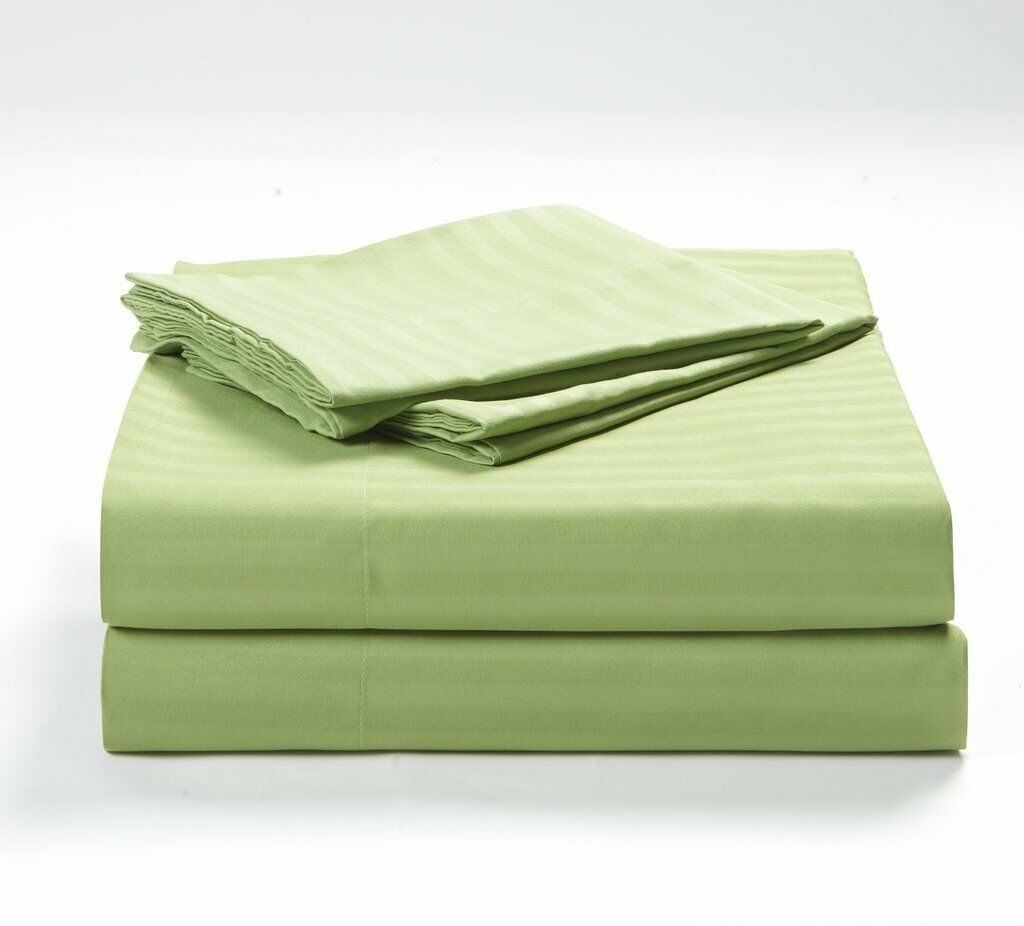 Egyptian Cotton 800 TC Duvet Set Zipper Closer Sage Stripe All USA Size 3 PCs