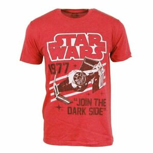 Men-Official-Retro-Star-Wars-Darth-Vader-Tie-Fighter-1977-TShirt-Red-Size-Small