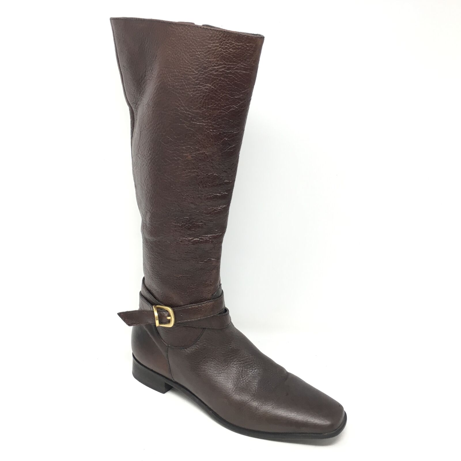 Women's Talbots Knee High Boots shoes Size 6.5B Brown Pebbled Leather Riding AA5