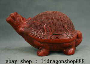 """8,4"""" Ancien Chine Rouge Laque Feng Shui Animal Dragon Tortue longévité Statue"""