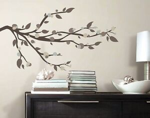 "MOD BRANCHES 49"" BiG Wall Decals Brown Tree Branch Room Decor Leaves Stickers"
