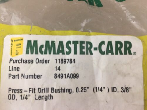 "0.25/"" ID 3//8/"" OD 1//4/"" Length 2 1//4/"" McMASTER-CARR Press-Fit Drill Bushing"