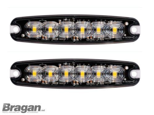 24v Amber Strobe Flashing 6 LEDs Lights Recovery Truck Breakdown Lamp x2 12