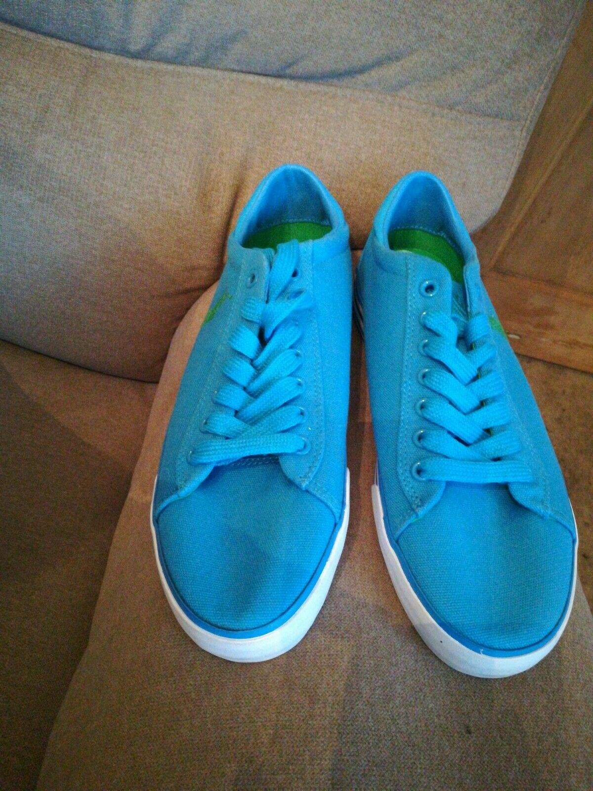 BNWT RALPH LAUREN POLO CANVAS DECK SHOES TURQUOISE WITH GREEN EMBROIDERY...
