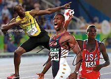 Usain Bolt Michael Johnson Carl Lewis Greatest Sprint Autograph Signed A4 Poster