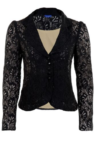 Women/'s Lace Lined Frill Gathered Shoulder 3-4 Sleeve Zip Ladies Smart Jacket