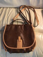 Sundance Catalog City Streets Brown and Tan Leather Cross Body Messenger Bag