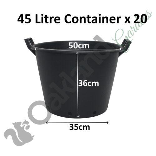 20 x 45 litri PER PIANTE ALBERO PENTOLA con manici Heavy Duty 45L LT Big Grande in Plastica