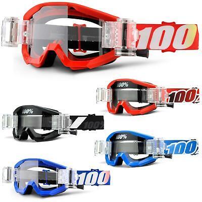 100% Mud Strata Svs Goggle Occhiali Roll Off Chiaramente Dh Mtb Mx Moto Cross Rad- Prezzo Basso
