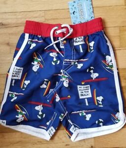 b5d4cd2300599 Hanna Andersson UPF 50 Swim Trunks Shorts Peanuts Snoopy Surf 90 3t 3