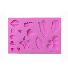 Silicone Leaves Vein Fondant Cake Embossing Mould Gum Paste DIY Decorating Tools