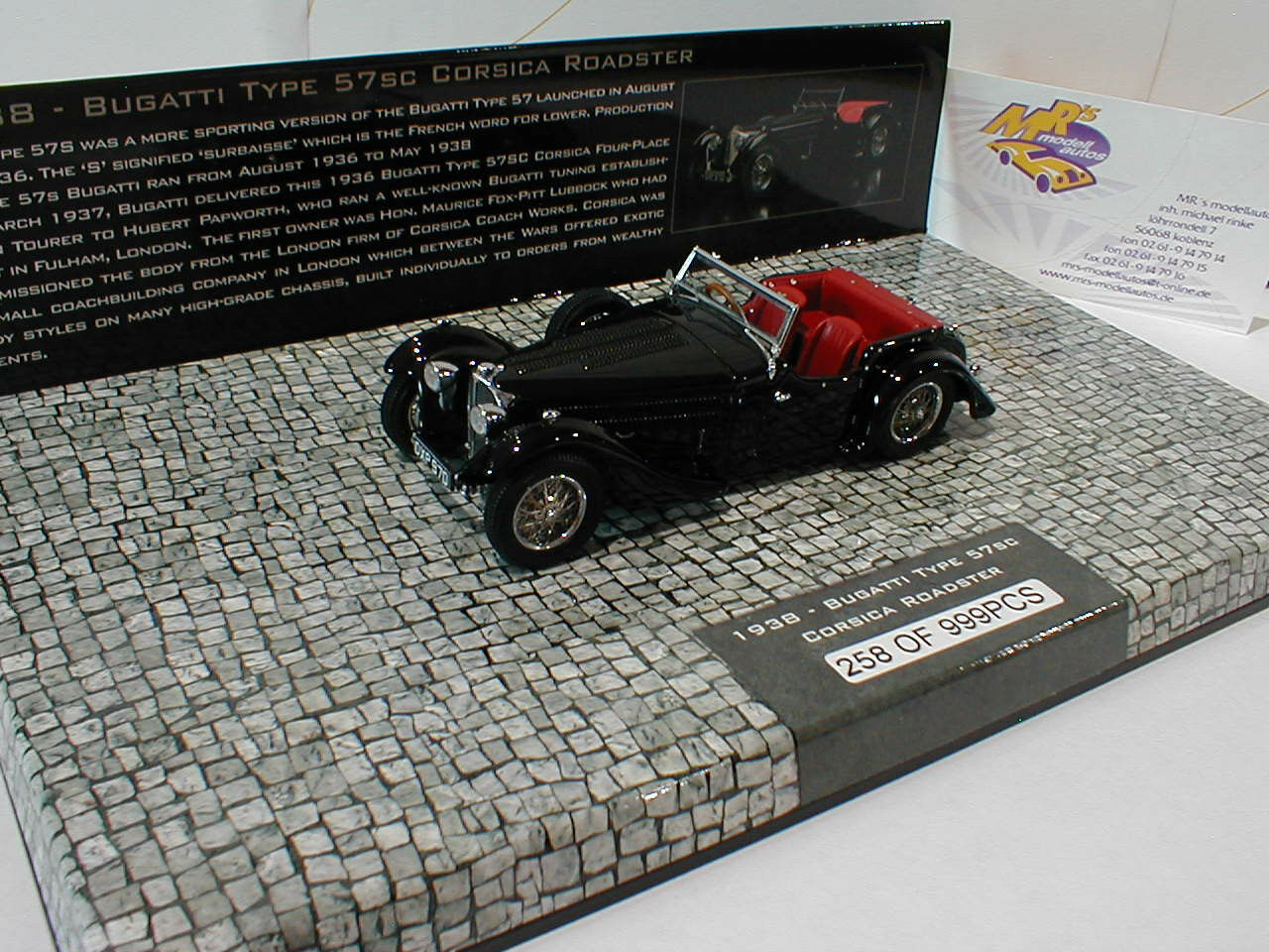 437110430 minichamps   bugatti typ 57sc cabrio baujahr 1938 in  schwarz  1 43