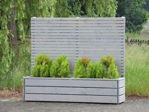 pflanzkasten holz lang l mit sichtschutz h he 180 cm transparent ge lt grau ebay. Black Bedroom Furniture Sets. Home Design Ideas