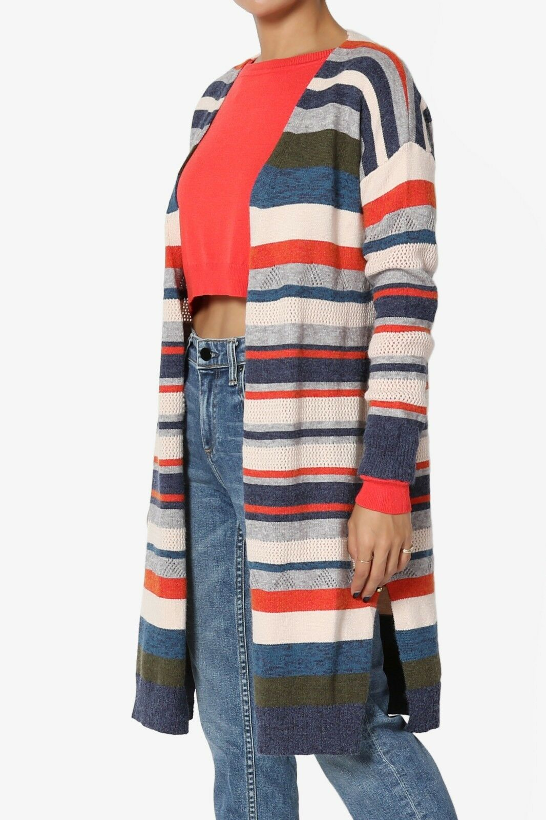 TheMogan Off-Duty Off-Duty Off-Duty Multi color Stripe Knit Long Sleeve Longline Open Cardigan fae22c