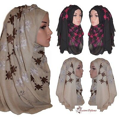 NEW LARGE COTTON EMBROIDERY HIJAB MAXI LARGE PLAIN INDIAN SHAWL SCARF WRAP