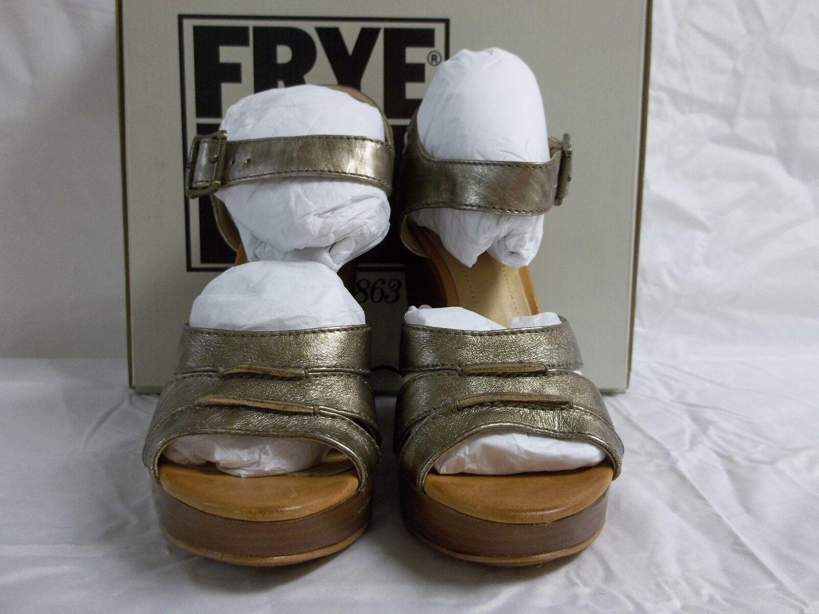Frye Größe Heels 7 M Alexa Bronze Leder Open Toe Heels Größe New Damenschuhe Schuhes 751b8e