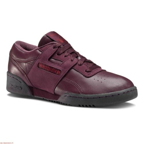 REEBOK WORKOUT LOW CLEAN BS BURGUNDY TRAINERS SNEAKERS SHOES RETRO COMFY MEN/'S