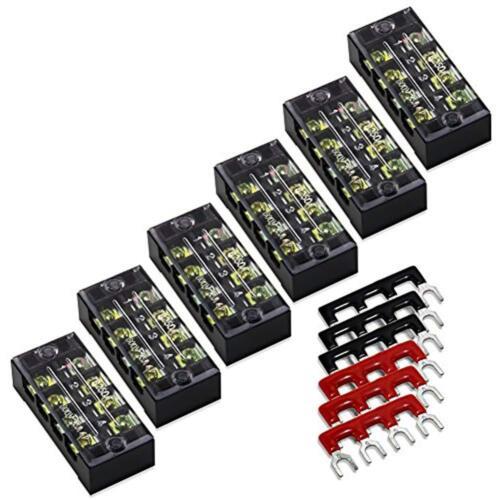 12pcs 6 Set 4 Position Dual Row 600V 25A Screw Terminal Strip Block 400V Barrier