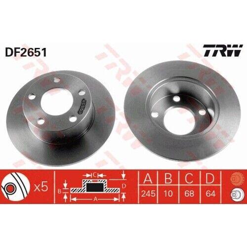 2 Bremsscheibe TRW DF2651 passend für AUDI SKODA VW