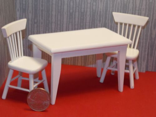 Dollhouse Miniature Whit Kitchen Table Chairs 1:12 inch scale F16 Dollys Gallery