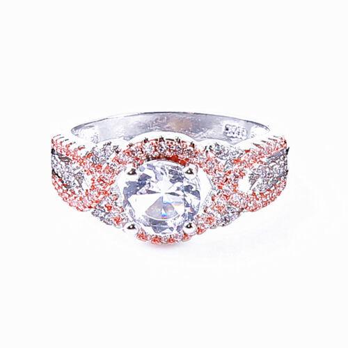 Citrino Encanto De Oro Rosa Diamante de Imitación Infinito Compromiso Anillo De Boda CB