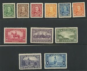 Canada 1935 KGV Pictorial issue complete #217 - 227 mlhr