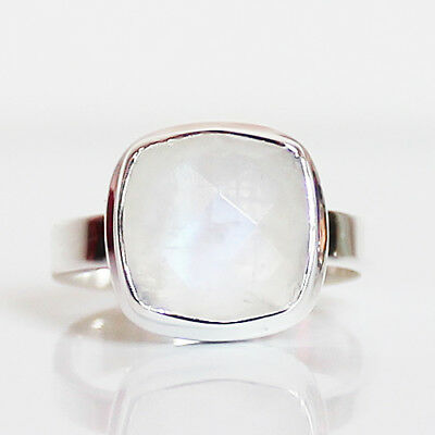 100% 925 Solid Sterling Silver Faceted Square Moonstone Stone Ring - Size 7