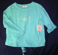 Sun Bay Women P L Pullover Top Cotton Long Sleeve Turquoise Sealife Petite L