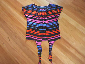 LADIES-CUTE-BLACK-MULTI-COLOUR-STRIPE-SLEEVELESS-TOP-BY-HOT-OPTIONS-SIZE-10