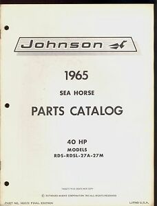 1965 johnson 40hp outboard motor parts manual rds rdsl 27a 27m rh ebay com