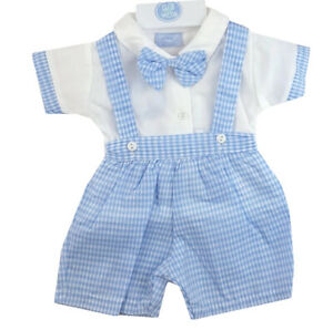Baby boys Spanish style Dungarees Shirt  Blue Newborn 0-3 months 3-6 months