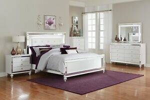 Details about GLITZY 4 PC WHITE MIRRORED LED QUEEN BED NS DRESSER MIRROR  BEDROOM FURNITURE SET