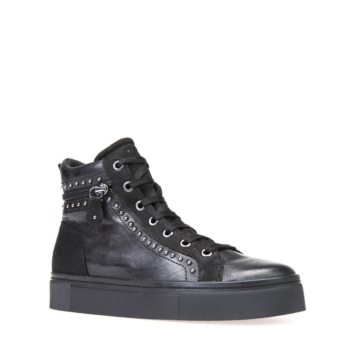 GEOX scarpe da ginnastica DONNA A I HIDENCE D7434A 0BTAF PELLE + SUEDE nero - CASUAL SPORT