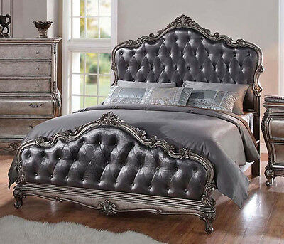 NEW ARABELLA TRADITIONAL TUFTED ANTIQUED PLATINUM FINISH WOOD QUEEN or KING BED