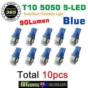 10x T10 LED 5 SMD Blue Car Wedge Dash Tail Side Parking Light Globes 12V - Blue