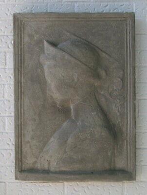 + Steinguss Motivplatte Reliefplatte Lene 66 X 48 Cm Dame Antik Look