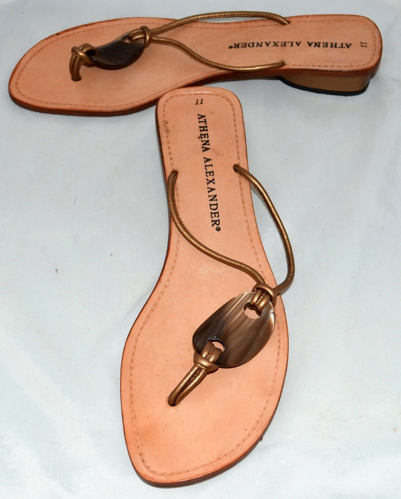 Athena Alexander Handmade gold Leather with Marbled Lucite Thong Sandals Sz 11 M