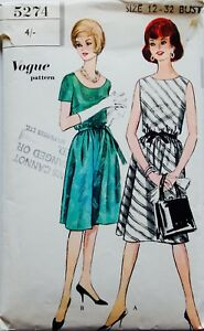 VOGUE-5274-1950-039-s-1960-039-s-COCKTAIL-PARTY-DRESS-SEWING-PATTERN-SIZE-12-Bust-32