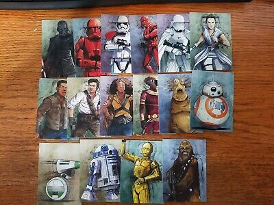 Topps Star Wars Journey To The Rise Of Skywalker Illustrated Character Set