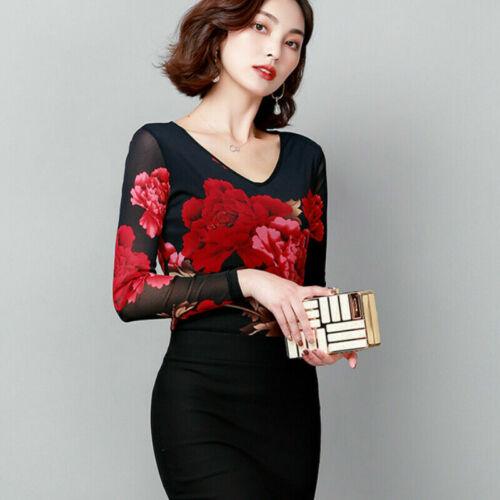 Damen Blumenmuster Netz Hemd Ethnisch Top Bedruckt Slim Bluse Blumen Langärmelig